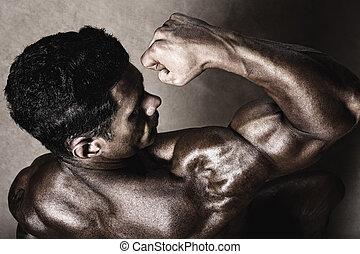 sportowy, silny, biceps., człowiek, widać
