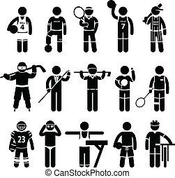 sportruházat, sport, ruházat, öltözet