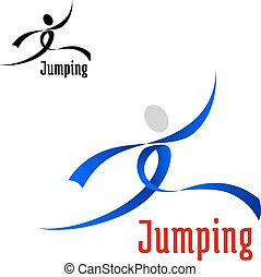 Jumping competition emblem design with jumping athlete abstract silhouette, composed of blue curved ribbons and isolated on white background