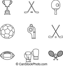 Sports accessories icons set, outline style