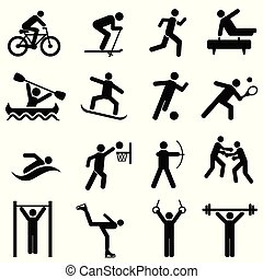 sports, activité, fitness, exercice, icônes