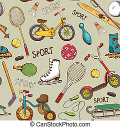 vintage hand drawn sports and action games seamless pattern