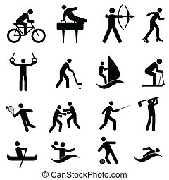 Sports and athletic icons - Sports and athletic icon set in...