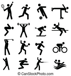 Sports and athletics icons - Sports and athletics icon set ...