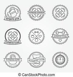 Sports and fitness logo emblem graphics set - vector black ...