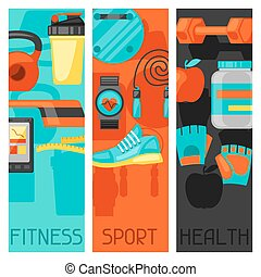Sports and healthy lifestyle banners with fitness icons. ...