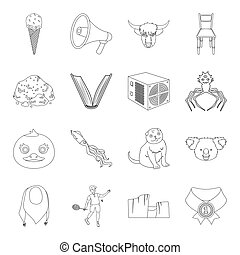 sports, animal, education and other web icon in outline style. medicine, library, nature icons in set collection.