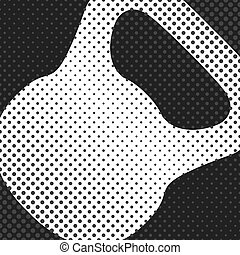 Sports background with kettlebell, inventory items for the gym, the effect of halftone and place for your text, vector illustration.
