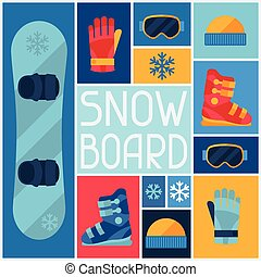 Sports background with snowboard equipment flat icons.