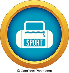 Sports bag icon blue vector isolated