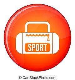 Sports bag icon, flat style