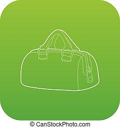 Sports bag icon green vector