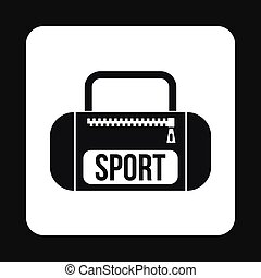 Sports bag icon, simple style