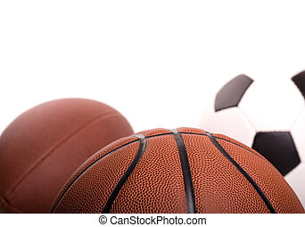 Sports Ball Background - Basketball, football and soccer...