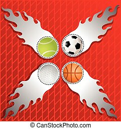 Sports Ball in Silver flames crept on graphics background....