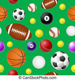 Sports ball seamless pattern on green background