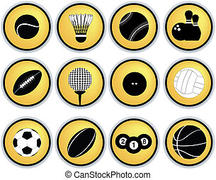 Sports balls button set - Detailed illustration of a series...