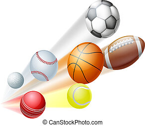 Illustration of a lots of sports ball dynamically flying through the air with motion blur