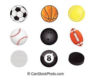 sports balls equipment icon set
