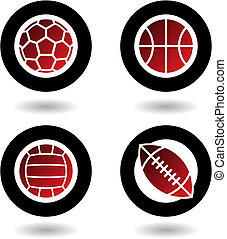 Sports balls icons isolated on a white background, vector illustration