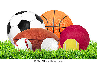 Sports balls in green grass isolated on white