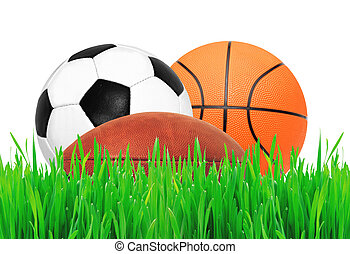 Sports balls on green grass over white