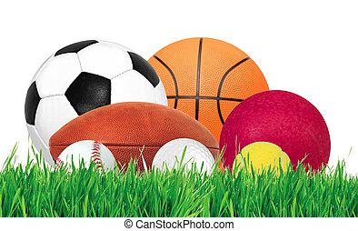 Sports balls over green grass isolated on white