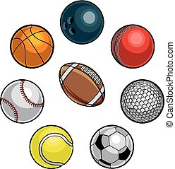 Sports Balls Set - A set of cartoon sports balls icons