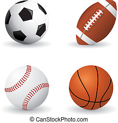 Set of detailed sports balls