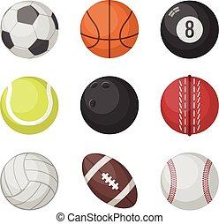 Sports balls vector set. basketball, soccer, tennis, football, baseball, bowling, golf, volleyball