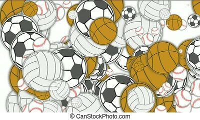 Sports balls,basketball,football,softball,volleyball,tennis.