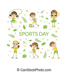 Sports Banner Template with Cute Kids Kids Playing Various Sports Vector Illustration