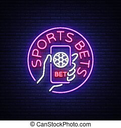 Sports betting is a neon sign. Design template, Neon style logo, bright banner, night advertising for your projects, smartphone in your hand, online betting on football. Vector illustration.