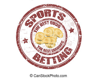 Grunge rubber stamp with the coins shape and the text sports betting written inside the stamp