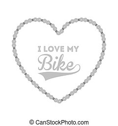sports bike in chain heart  isolated icon design