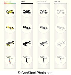 Sports bike, racing car, skateboard, extreme jumping. Extreme sport set collection icons in cartoon black monochrome outline style vector symbol stock Isometric illustration web.