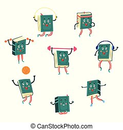 Sports books set of various cute cartoon characters doing exercises and having fun.
