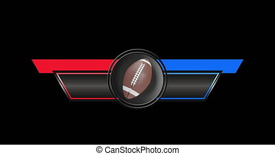 Digital animation of Sports Breaking News Broadcast on black background with American Football and copy space 4k