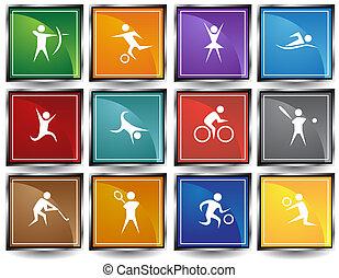sports, cadre, carrée, ensemble, icône