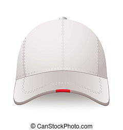 Sports cap - White sports cap with red label and room for...
