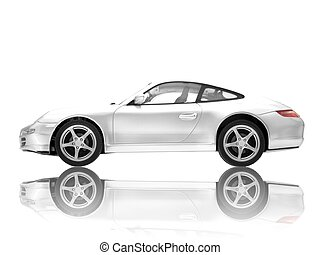 Sports Car - A toy sports car isolated against a white ...