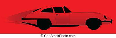 Sports Car - A speeding red British sports car on a red...