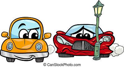 sports car crashed cartoon illustration - Cartoon...