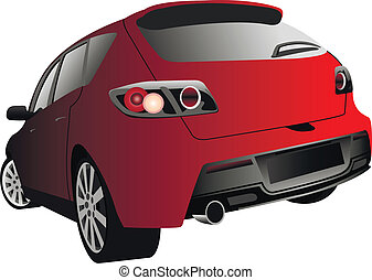 sports car - rear view of the sports car of red colour