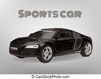 Sports car front view. The image of a sports back car on a gray background.