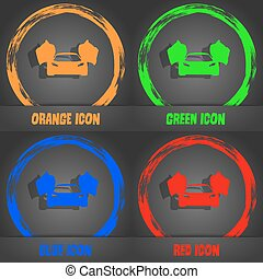 sports car icon. Fashionable modern style. In the orange, green, blue, red design. Vector