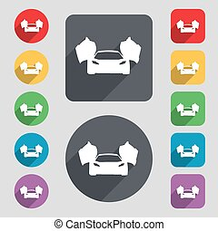 sports car icon sign. A set of 12 colored buttons and a long shadow. Flat design. Vector illustration