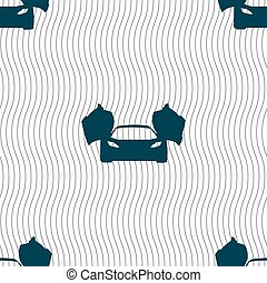 sports car icon sign. Seamless pattern with geometric texture. Vector illustration