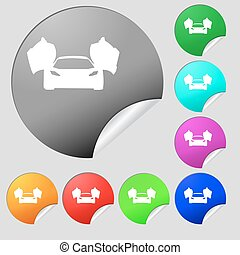 sports car icon sign. Set of eight multi colored round buttons, stickers. Vector