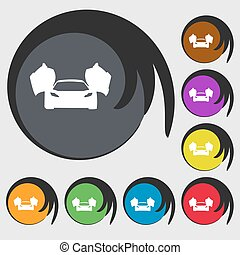 sports car icon. Symbols on eight colored buttons. Vector illustration